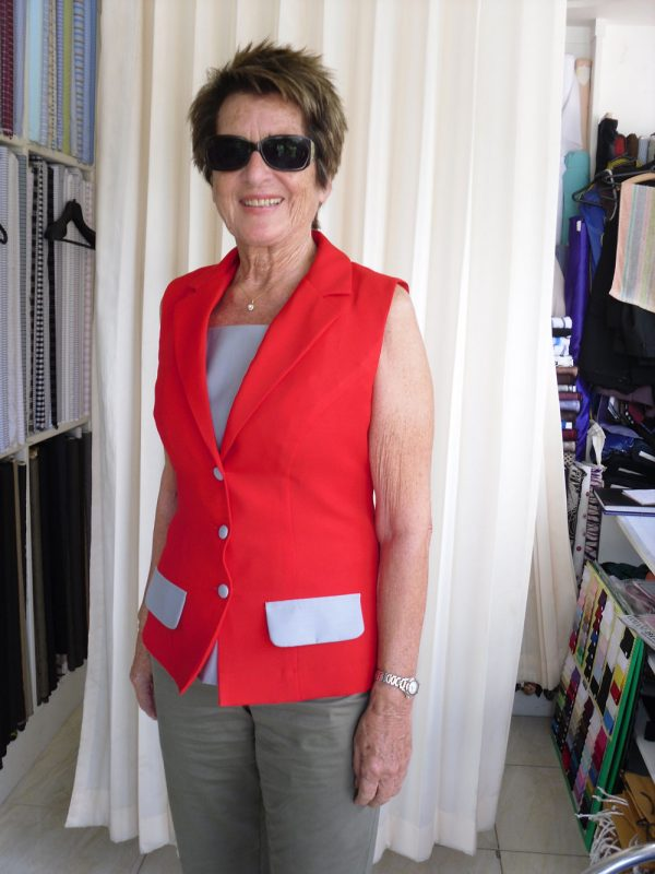 Red Color Lady Vest